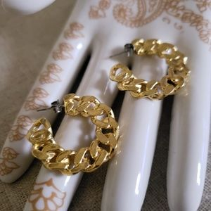 New Gile and Brother Gold Plated Link Hoop Earring